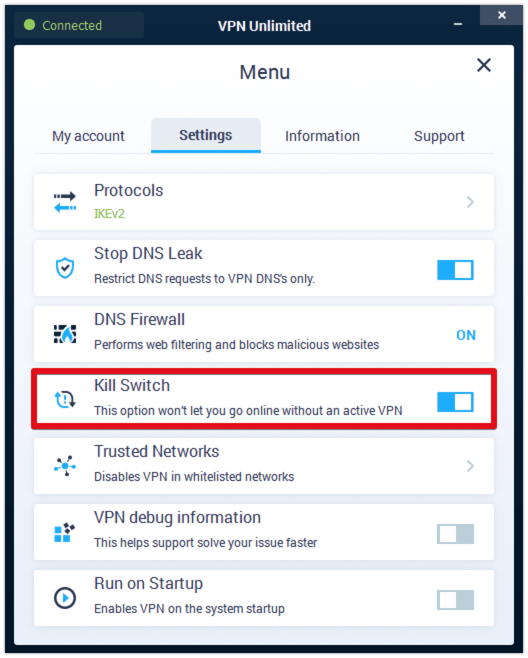 The Kill Switch feature in VPN Unlimited on Windows