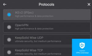 KeepSolid VPN Unlimited VPN protocols: IKEv2, OpenVPN, and KeepSolid Wise